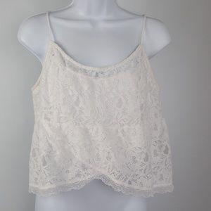 Hollister white lace tank top spaghetti straps